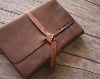 Personalized Leather Photo Album, Handmade Leather Scrapbook, Rustic Wedding Guestbook, Baby Memory Album, Wedding Gift