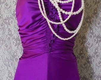 Purple disco dress slinky stretchy  70s boho hippie festival  small  from vintage opulence on Etsy