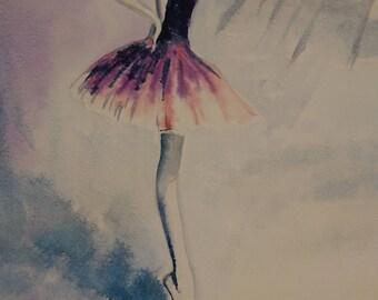 Ballet dancer on the point A3, Watercolour Fine Art, Contemporary art,  littlecl@mail.ru