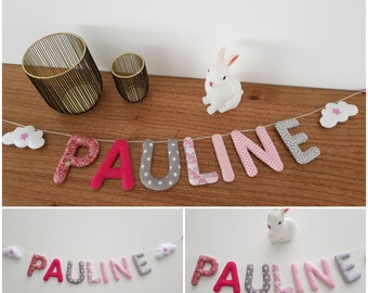 Garland name 7 letters fabric and felt, wall decor for kids room, fabric letters, preno, custom Garland