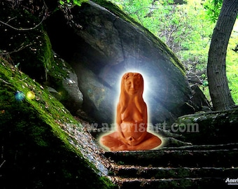 Gaia, greeting card, Mother Earth, fertility Goddess, mother goddess, pregnant goddess, spiritual art, wicca, birth art