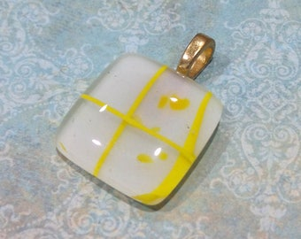 Yellow Pendant, Fused Glass Pendant, Omega Slide, Yellow and White Jewelry, Large Gold Bail, Glass Fuse - Crossroads - 3628 -2