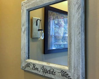 "Rustic Farmhouse Mirror 17.5"" x 17.5"" Wood Mirror Recycled Reclaimed Wood Mirror Rustic Mirror Fixer Upper Mirror In Driftwood Stain"