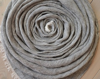 Gray and White Melange LINEN Scarf, Lightweight Scarf, Summer Scarf, Grey Scarf