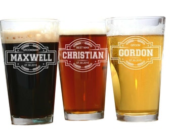 Pint Glasses, Wedding Favors Beer, Wedding Favors, Pint Glass, Custom Name, Personalized Groomsmen Gift, Personalized Pint Glass, Weddings