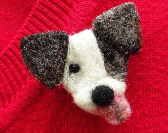 Dog pin badge, little gift for dog lovers, handmade felted animal brooch, small stocking fillers under 20