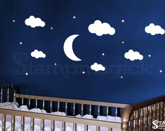 Moon Wall Decal - Clouds Vinyl Wall Decal Decor Graphics - Stars Wall Decal - for Baby Nursery Night - K215