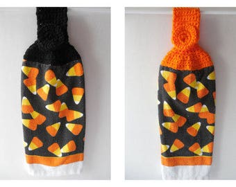 Kitchen Hanging Towel - Halloween Towel - Crochet Top - Handmade Crochet - Candy Corn - Ready to Ship