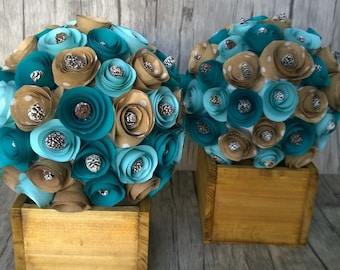Rustic Wedding Table Decor - Paper Flower Table Centerpiece for any occasion
