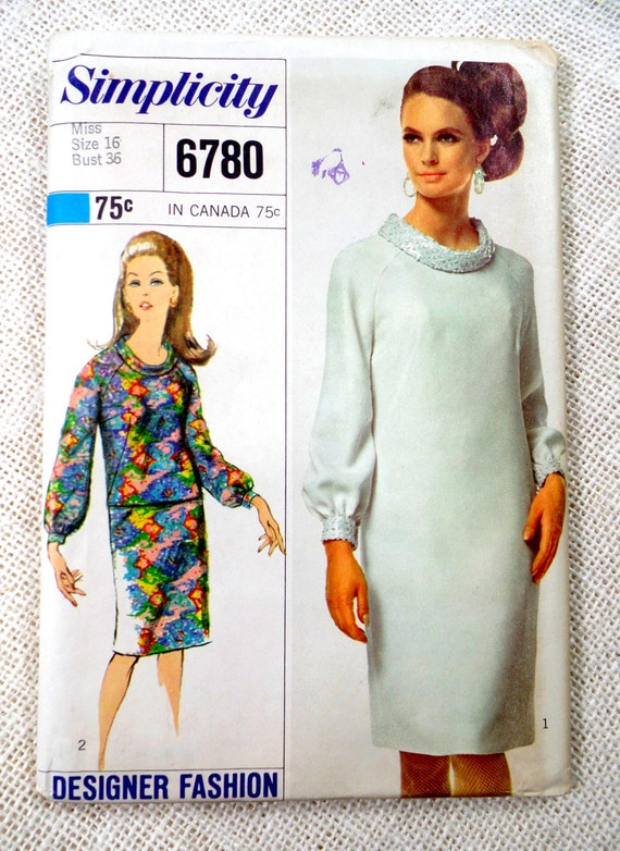 Simplicity 6780 vintage sewing Pattern cowl neck shift sack dress ...