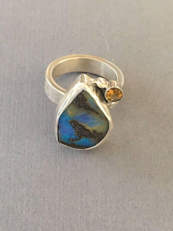 Bouler opal and tourmaline ring