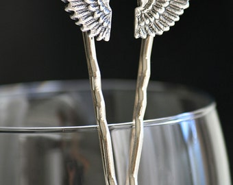 Antiqued Sterling Silver Angel Wings Metal Bobby Pins (Wing, Fowl, Heaven) Sale, Clearance