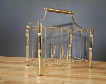 Magazine Rack / Brass Tone Faux Bamboo Magazine / Book / Towel Holder Rack ~ Hollywood Regency Decor