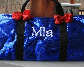 Girls Custom Monogram Royal Sequin Duffel Dance Bag Personalized Cheer Bag