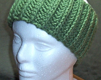 Womens Crocheted Headband in Forest Green