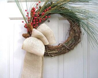 Winter Wreath, Rustic Wreath, Farmhouse Wreath, Farmhouse Decor, Christmas Wreath, Christmas Decor, Holiday Wreath, Holiday Decor, Pinecones
