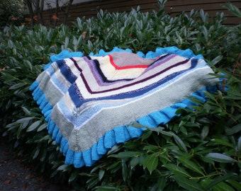 Ruffled shawl  six feet wide, three feet long