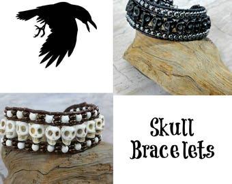 Mens Skull Bracelet - Skull Jewelry - Cuff - Mens Jewelry - Biker - Beaded Bracelet - Womens Mens Gift