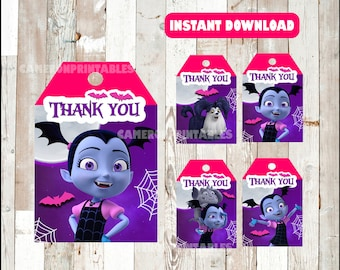 Vampirina Thank you Tags instant download , Vampirina Thank you Tags, Printable Vampirina party tags