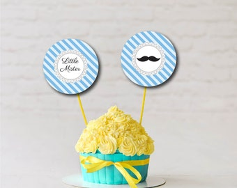 Cupcake Toppers, Baby Shower, Decor, Buttons, Tags, Stickers, Blue, Moustache, Little Mister, Party Favors, Printable Instant Download T662J