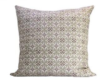 Elmas Handscreen Printed Floor Cushion Cover - Moss Green / Fawn 75x75cm