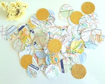 Map Confetti 400 Circle atlas Scrapbook,Map circle confetti,Atlas confetti,wedding confetti,Travel party confetti,bridal shower,
