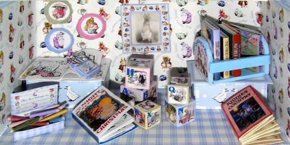 Beatrix Potter set, Paperminis, Bastelkit of paper in miniature for the Dollhouse, the doll house, Dollhouse Miniatures # 40048