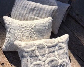 Lavender Sachet - French Lavender Sachet Lace Sachet Scented Pillow Bridesmaid Gift Striped Linen Sachet