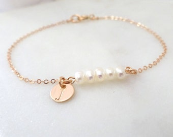 Personalized ROSE GOLD Freshwater Pearl bracelet, Bridesmaid bracelet, Custom Spring Wedding jewelry, Gold fill, Sterling silver