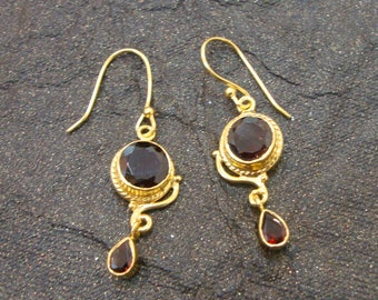 Beautiful Brown Quartz 925 Sterling Silver Gold Plated Dangle Drops Earrings