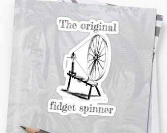 Spinning Wheel Sticker Decal ~ Original Fidget Spinner - Spinning Wheel ~ Spinner, Knitter, Crocheter, Yarnie ~ Funny Gift