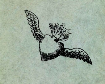 Winged Flying Sacred Flaming Heart SMALL - Antique Style Clear Stamp