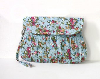 Blue floral clutch, little bouquet clutch, shabby chic, floral wristlet