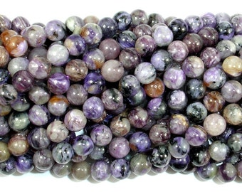 Genuine Charoite, 6mm (6.5 mm) Round Beads, 16 Inch, Full stand, Approx 64 beads, Hole 0.8 mm (187054002)