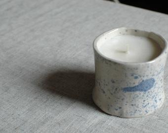 Ceramic Cobalt Splatter Soy Wax Unscented Candle