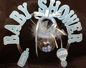 Blue Plastic large pacifier baby boy shower cake topper decoration centerpiece