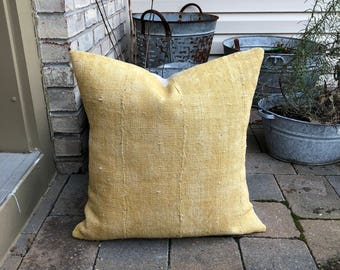 vintage mustard african mudcloth pillow cover