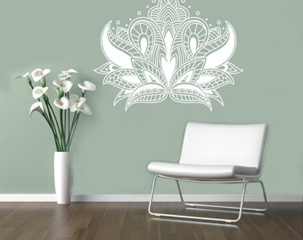 Flower Stickers Mehndi : Abstract flowers mehndi wall vinyl decal henna indian ornament