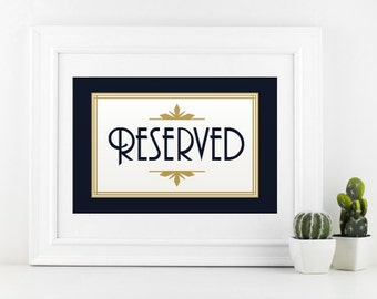 Wedding Sign | Reserved Sign | Printable Digital Download | Wedding Reception DIY | Wedding Reserved Seat Sign | FITZGERALD Art Deco Gatsby