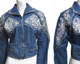Jeans Jacket 80s vintage Sequin Embroidered silver paillettes Rhinestone Studs & Zip sz M As New - Museum Piece