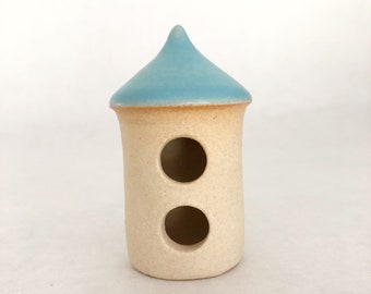 Micro miniature house - one miniature fairy cottage, white clay, carved double entry, sky blue glaze