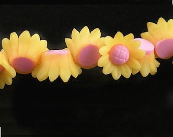 6pc 16x7mm  fimo clay flower shape bead-8891