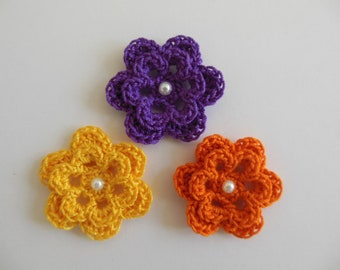 Trio of Crocheted Flowers - Orange, Yellow and Purple with Pearl - Cotton - Crocheted Appliques - Crocheted Embellishments