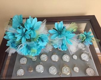 Seaside fantasy Wedding bouquets and boutonnière set bride maid of honor bridesmaid groom burlap wrap teal blue aqua hibiscus and dahlia