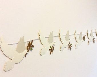 Dove and olive branch banner, white dove, olive branch, noahs ark, noah, ark, christian, jesus, baptism, peace, love
