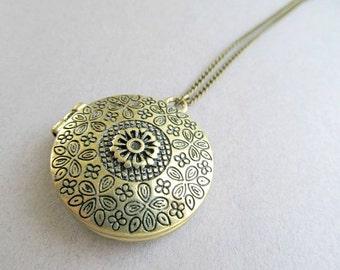 Brass Flower Stamped Locket Necklace, Long Filigree locket Necklace