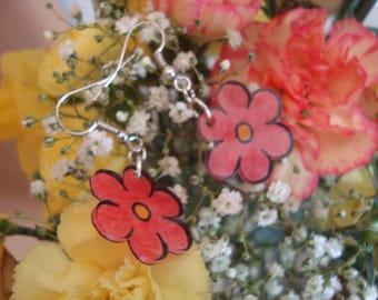 Fancy crazy red plastic Flower Earrings