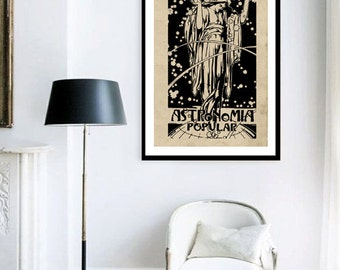 """ON SALE Large Print Poster Vintage Style Popular Astronomy """"Astronomia Popular"""""""