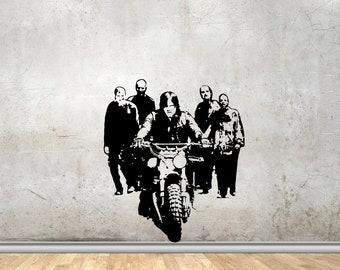 The Walking Dead Vinyl Wall Decals Daryl Dixon Drives Chopper and Zombie Vinyl Decor Stickers Murals MK1985