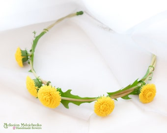 Hair wreath Dandelion - Polymer Clay Flowers